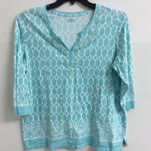 Charter Club Top Blue Abstract Embroidered Plus 1X